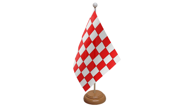 Red and White Check Small Flag with Wooden Stand
