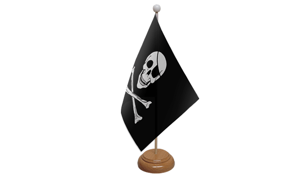 Skull and Crossbones Small Flag with Wooden Stand