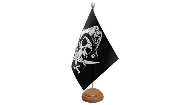 Crossed Sabres Small Flag with Wooden Stand
