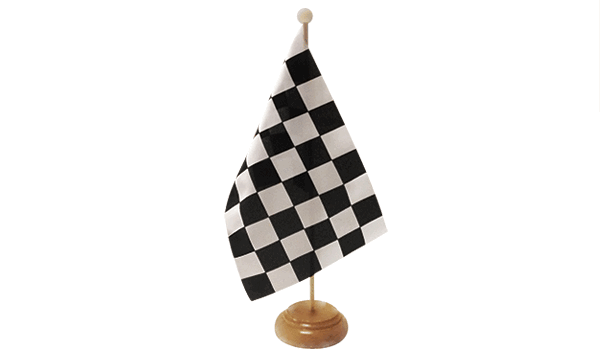Black and White Check Small Flag with Wooden Stand