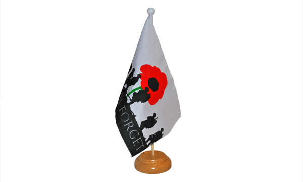 Lest We Forget (Army) Small Flag with Wooden Stand (out of stock)