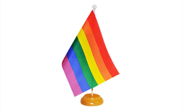 Rainbow (LGBT) Small Flag with Wooden Stand