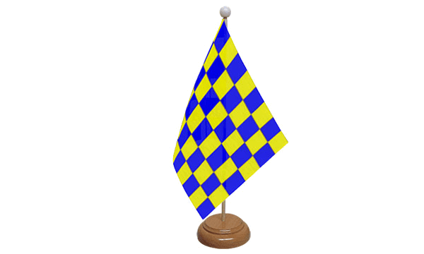 Blue and Yellow Check Small Flag with Wooden Stand