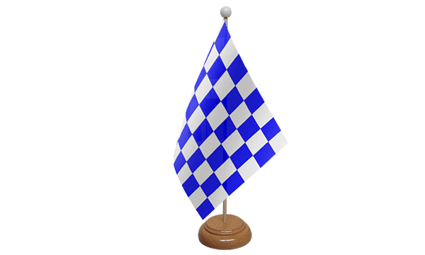 Blue and White Check Small Flag with Wooden Stand