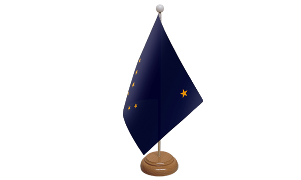 Alaska Small Flag with Wooden Stand
