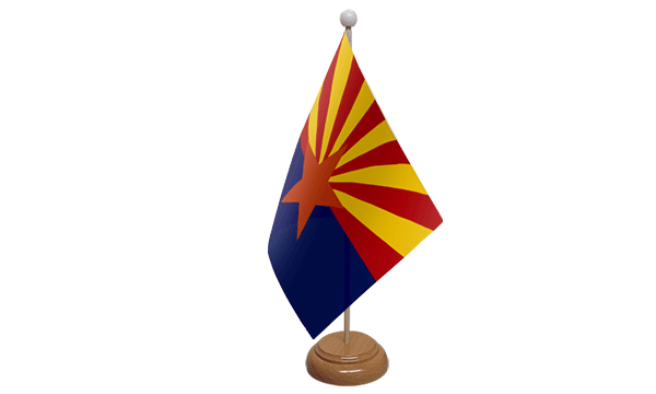 Arizona Small Flag with Wooden Stand