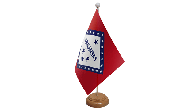 Arkansas Small Flag with Wooden Stand