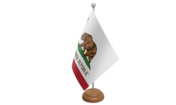 California Small Flag with Wooden Stand