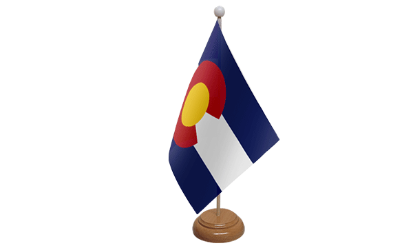 Colorado Small Flag with Wooden Stand