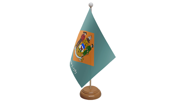 Delaware Small Flag with Wooden Stand