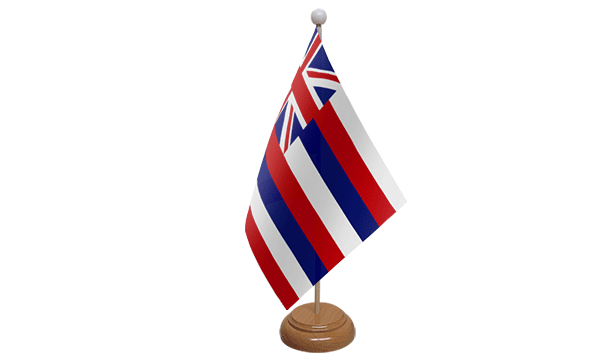 Hawaii Small Flag with Wooden Stand