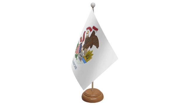 Illinois Small Flag with Wooden Stand