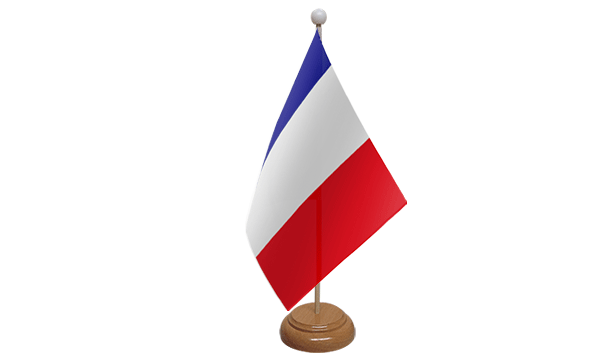 France Small Flag with Wooden Stand