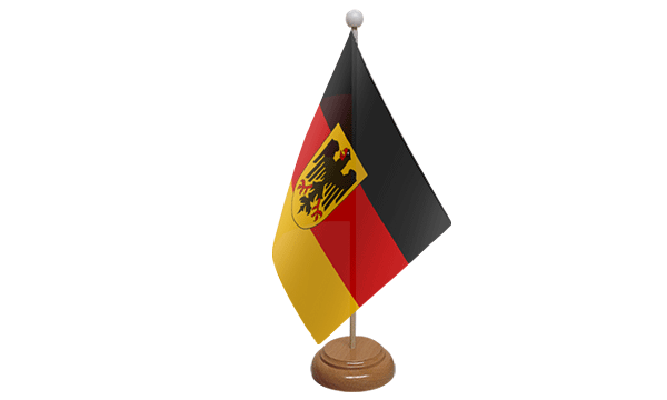 Germany Crest Small Flag with Wooden Stand