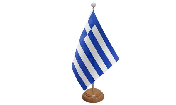 Greece Small Flag with Wooden Stand