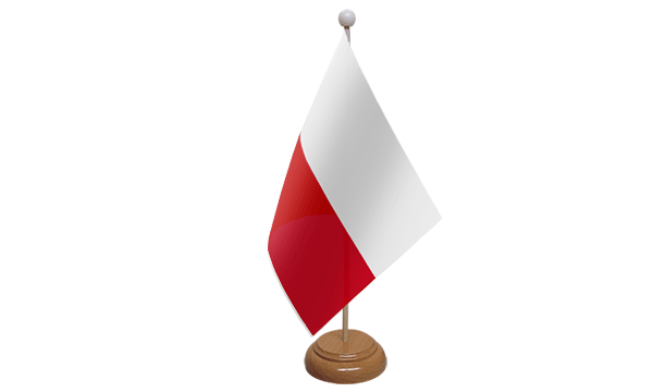 Poland Small Flag with Wooden Stand
