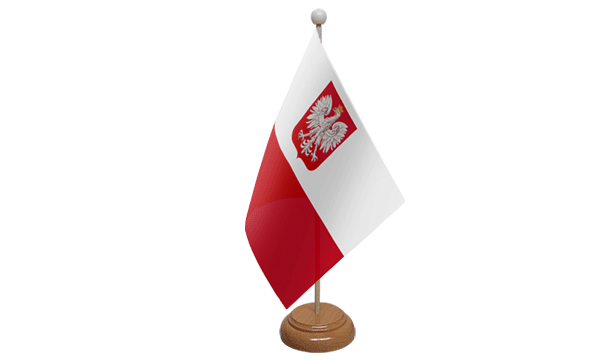 Poland Crest Small Flag with Wooden Stand