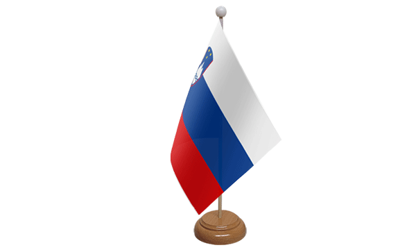 Slovenia Small Flag with Wooden Stand
