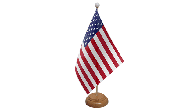 USA (United States) Small Flag with Wooden Stand