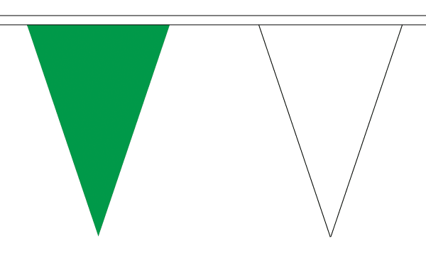 Green and White Triangle Bunting
