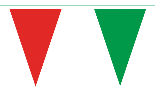 Red and Green Triangle Bunting