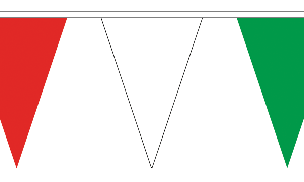 Red, White and Green Triangle Bunting