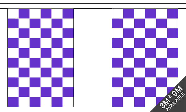 Purple and White Check Bunting