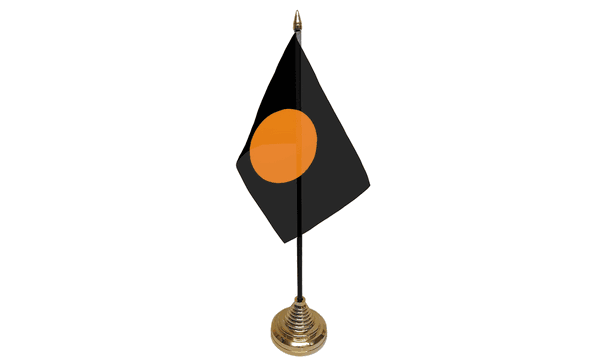Black with Orange Circle Table Flags